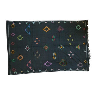 Black Moroccan Embroidered Kilim Carpet - 6' x 9'