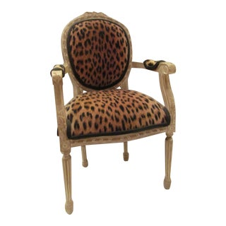 French Style Miniature Leopard Upholstered Table Top Chair