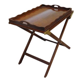 """Baker Furniture Lexicon Collection Mahogany """"The Party Butler"""" Folding Service Tray Table"""