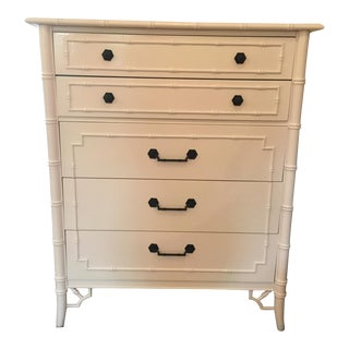 Thomasville Chinoiserie White Wooden Tallboy Dresser