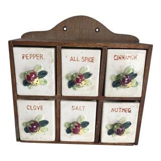 Vintage Ceramic Spice Storage Cabinet