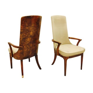 Vintage Burl Back Arm Chairs - A Pair