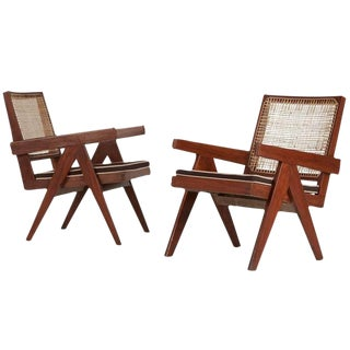 Pierre Jeanneret Chandigarh Easy Armchairs - A Pair