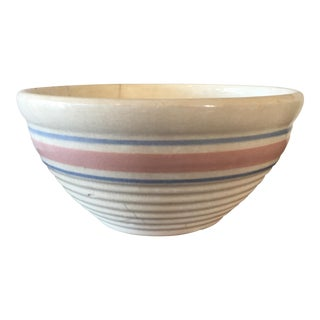 Vintage Pink & Blue Striped Pottery Mixing Bowl