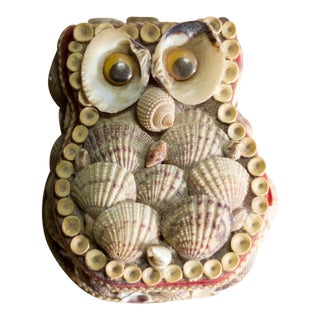 Vintage Hand Crafted Shell Owl Art Box