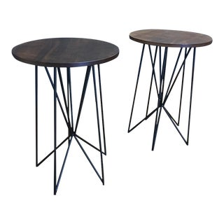 Black Steel & Wood Accent End Tables - A Pair