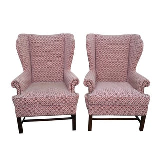 Baker Chippendale Style Wing Chairs - A Pair