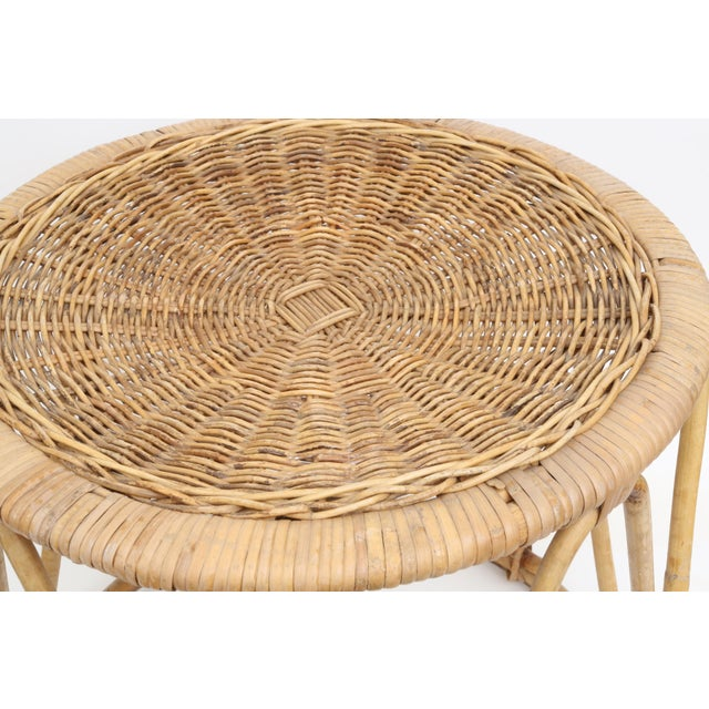 Vintage Boho Chic Bamboo & Wicker Side Table - Image 3 of 4