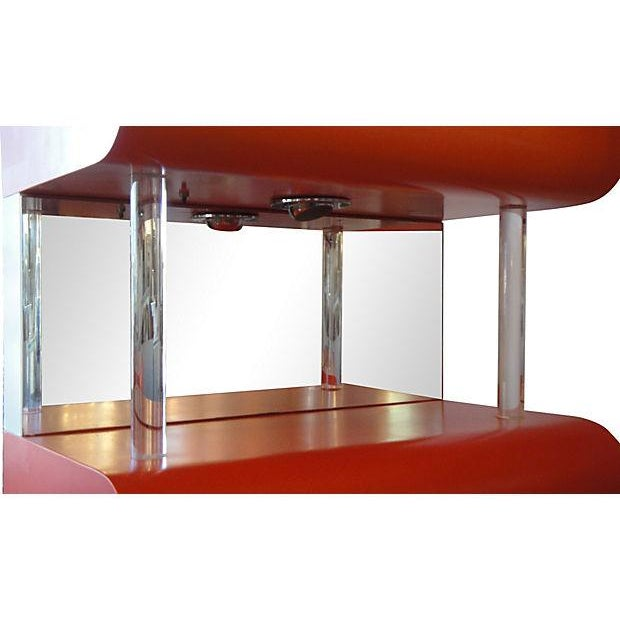 Lighted Wood Cabinets With Lucite and Mirror - 2 - Image 5 of 7