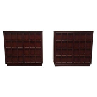 Mid-Century Marble Top Cabinets - A Pair