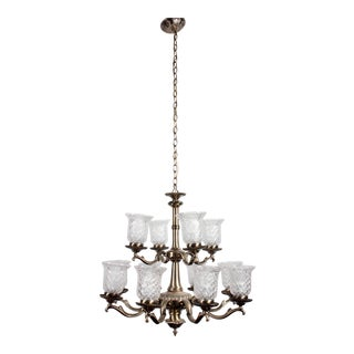 Brass 12-Lamp Chandelier