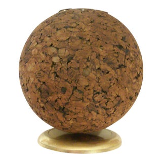 Mid-Century Spherical Cork Pen Holder Desk Accessory
