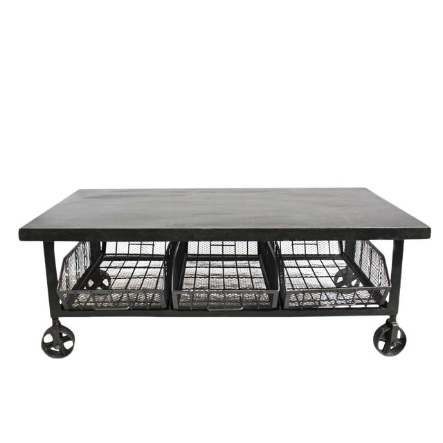 Industrial Iron Cart Coffee Table - Image 1 of 4