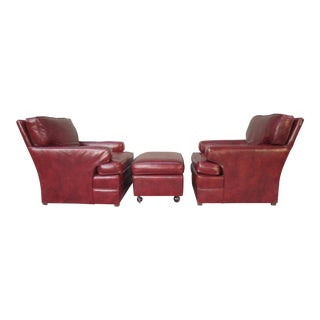 Vintage Art Deco Red Leather Club Lounge Chairs & Ottoman - Set of 3