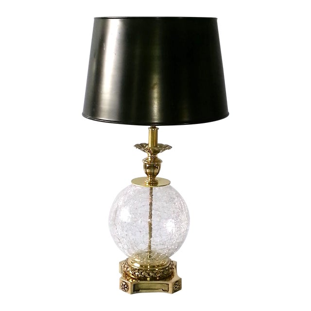 VINTAGE CRACKED GLASS AND BRASS LAMP - Image 1 of 10