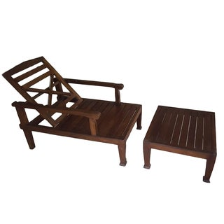 Teak Wood Reclining Luxury Lounger With Ottoman