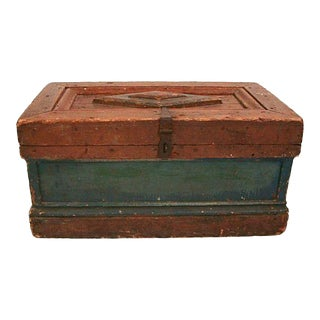 Antique Wood Trunk With Diamond Pattern Top