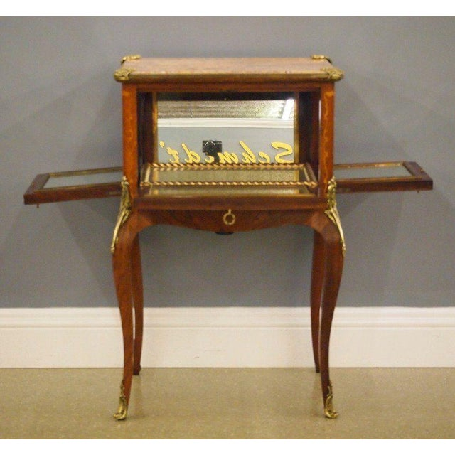 Antique Fine French Marble Top Gilt Bronze Mounted Inlaid Bar Liquor Cabinet - Image 4 of 11