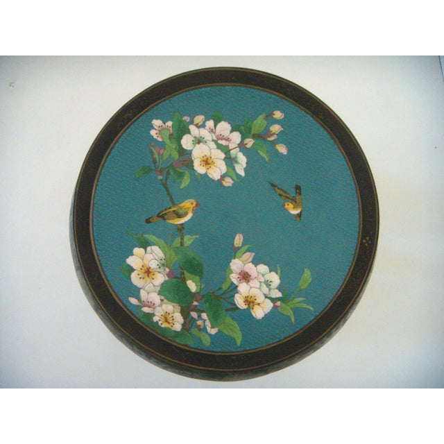 Antique Chinese Cloisonné & Black Lacquer Drum/Side Table - Image 3 of 6