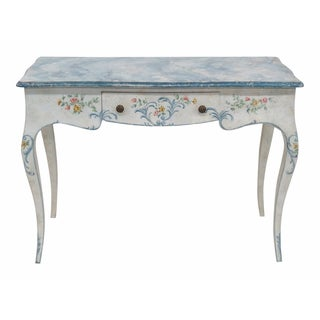 Paint Decorated Faux Marbletop Writing Desk/Vanity