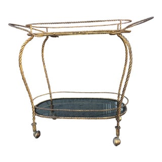 Hollywood Regency Gilded Bar Cart