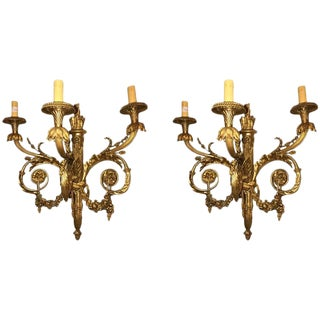 Louis XVI Style Solid Bronze 3-Light Sconces - A Pair