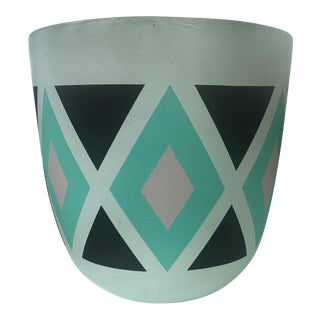 Turqoise & Black Diamond Patterned Small Planter