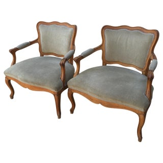 Louis XVI French Provincial Sage Velvet Armchairs