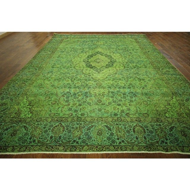 """Lime Green Overdyed Tabriz Area Rug - 9'5"""" x 12' - Image 3 of 10"""
