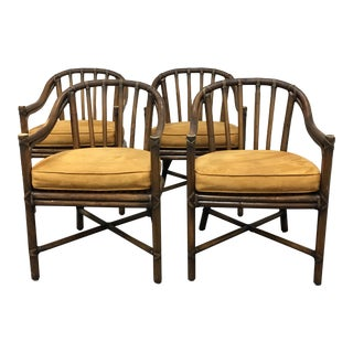 McGuire Bamboo Barrel Chairs - Set of Four