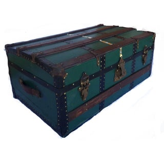 Antique Steamer Trunk in Forest Green