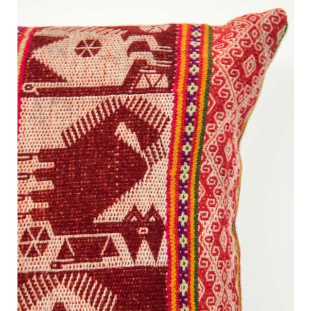 Red Handwoven Peruvian Pillow - Image 2 of 7