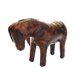 Vintage Leather Donkey Stool by Dimitri Omersa