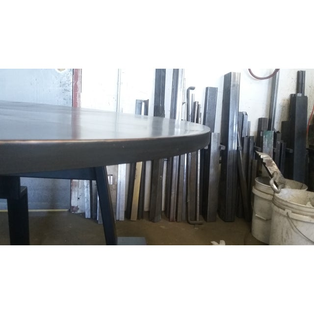 Black Round Steel Distortion Dining Table - Image 5 of 5