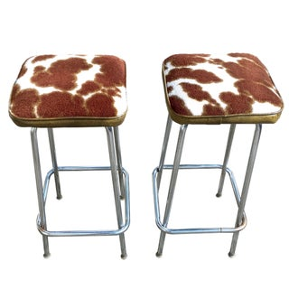 Vintage Cow Print Chrome Bar Stools - A Pair