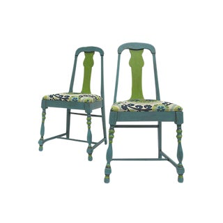 Suzani Print Accent Chairs - A Pair