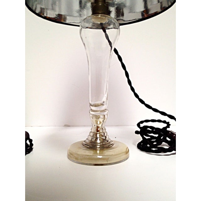1920's Mercury Glass Boudoir Lamps & Silk Shades - Image 6 of 7
