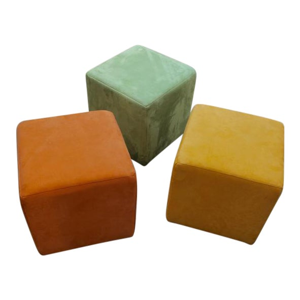 Image of Three German Himolla Cube Ottomans