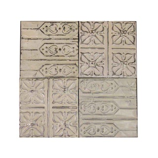 White Antique Tin Panels - Set of 4