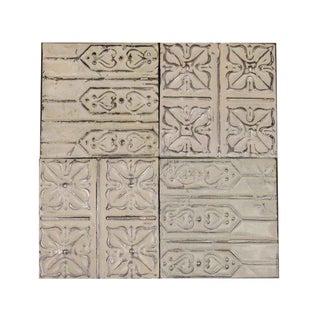 White Antique Tin Panels - Set of 4