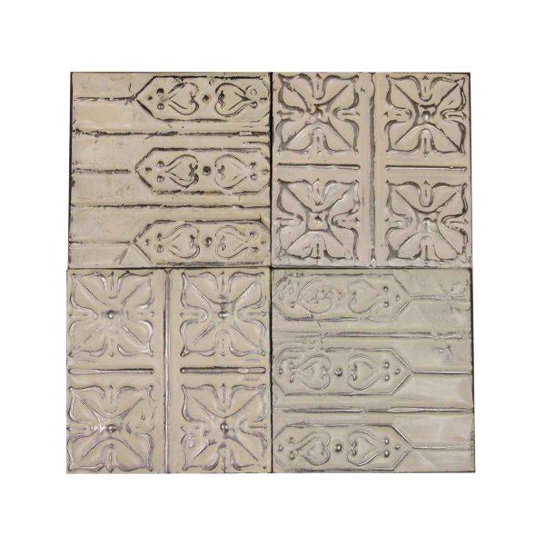 White Antique Tin Panels - Set of 4 - Image 1 of 4