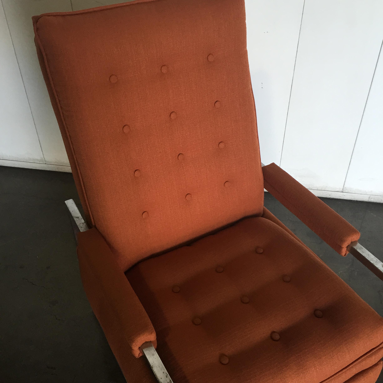 Mid Century Milo Baughman Style Orange Tweed Chrome