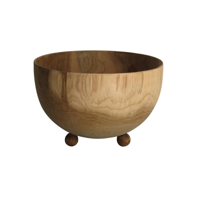 Carved Solid Wood Bowl with Bun Feet - Image 1 of 7