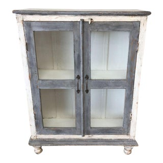 Distressed Gray & White Media Cabinet / Bookshelves