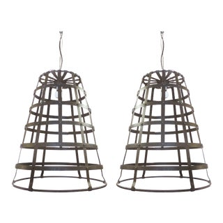 Vintage Metal Bucket Pendant Lights - A Pair