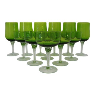 Bright Green Glass Stemware- Set of 12