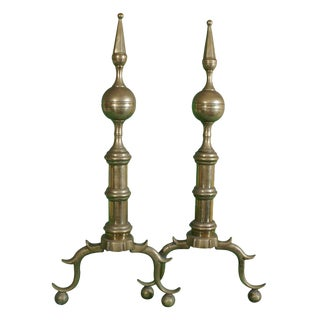 Pair of Brass Andirons circa 1800