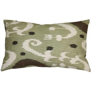 Pillow Decor - Indah Ikat Green 12x20 Throw Pillow