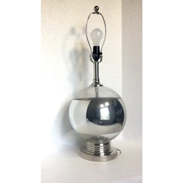 Mid-Century Round Silver Stripe Lamp - Image 2 of 7