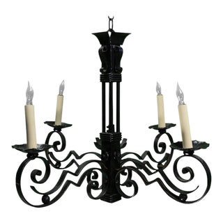 French, Art Deco Style Iron Chandelier With Six Arms
